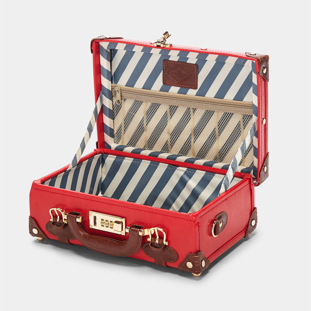 The Entrepreneur Vanity in Red - Vintage-Inspired Vegan Luggage - Interior Front