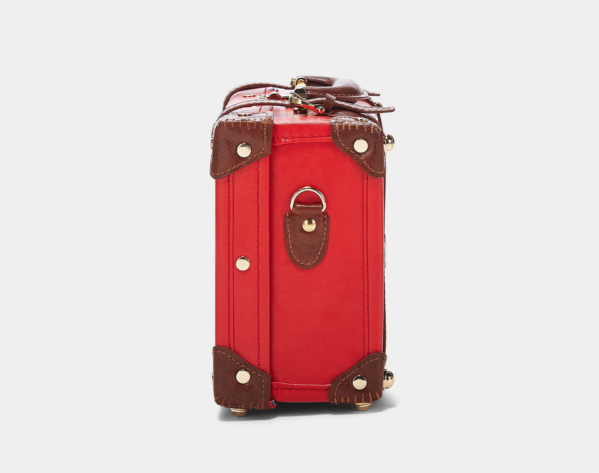 The Entrepreneur Vanity in Red - Vintage-Inspired Vegan Luggage - Exterior Side