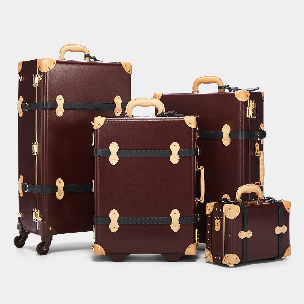 The Architect Stowaway in Burgundy - Vintage Style Leather Case - Alongside matching cases from The Architect Burgundy collection