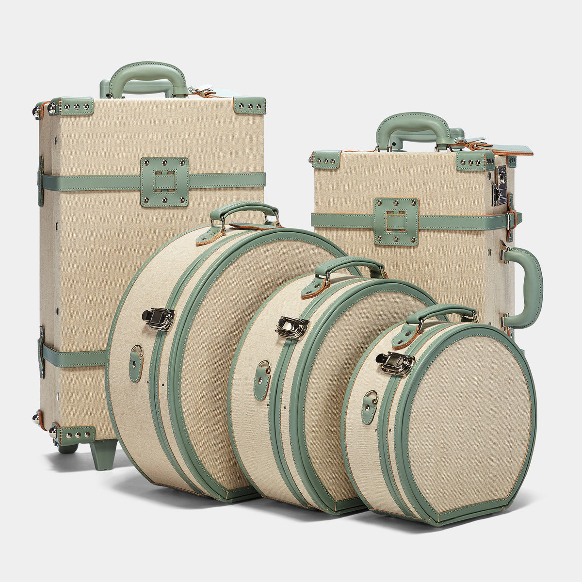 The Editor Carryon in Seagreen - Vintage Style Linen and Leather Case - Carryon with matching Editor Cases and Hatboxes