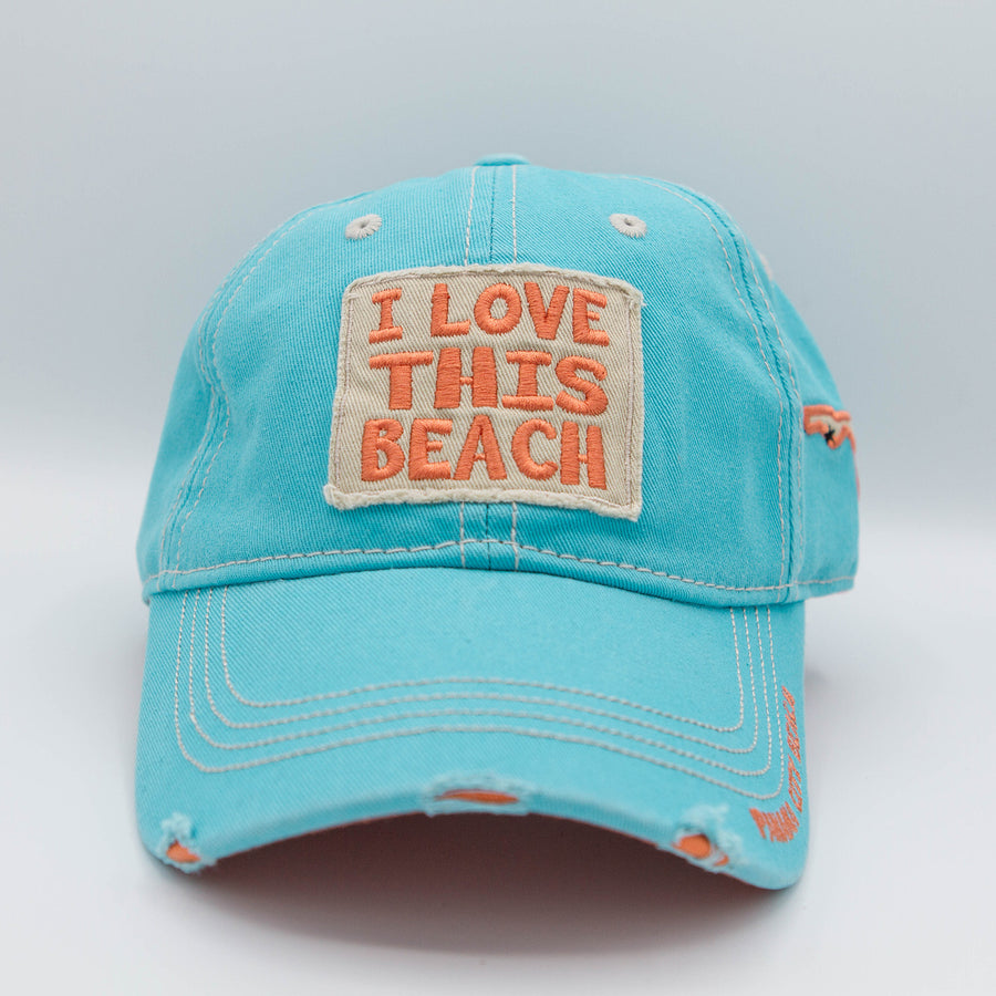 "Blue/Orange I Love This Beach"" Hat"