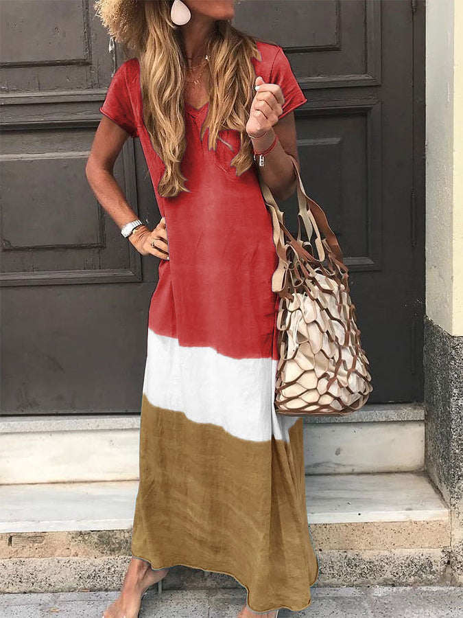 Cotton Boho Short Sleeve V Neck Dresses