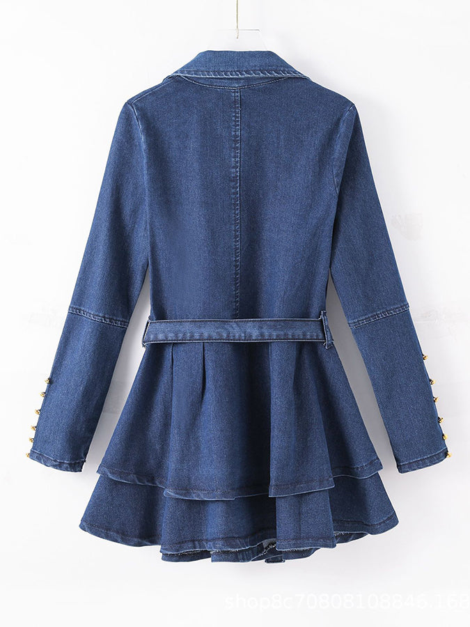 Blue Shift Long Sleeve Vintage Solid Outerwear