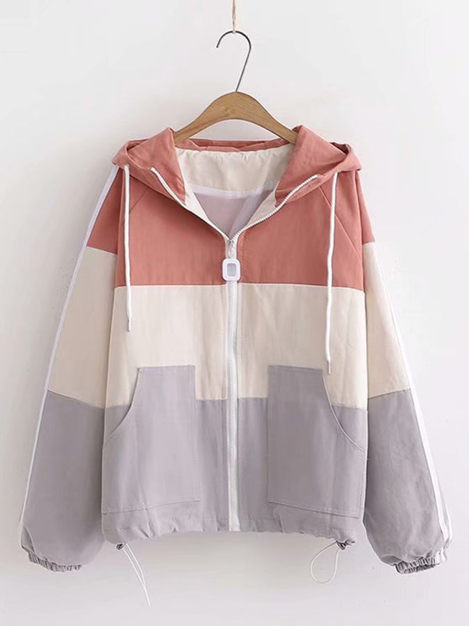 Long Sleeve Striped Casual Outerwear