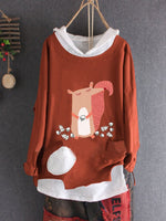 Animal Hoodie Long Sleeve Holiday Shirts & Tops