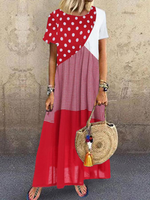 Short Sleeve Polka Dots Cotton-Blend Dresses