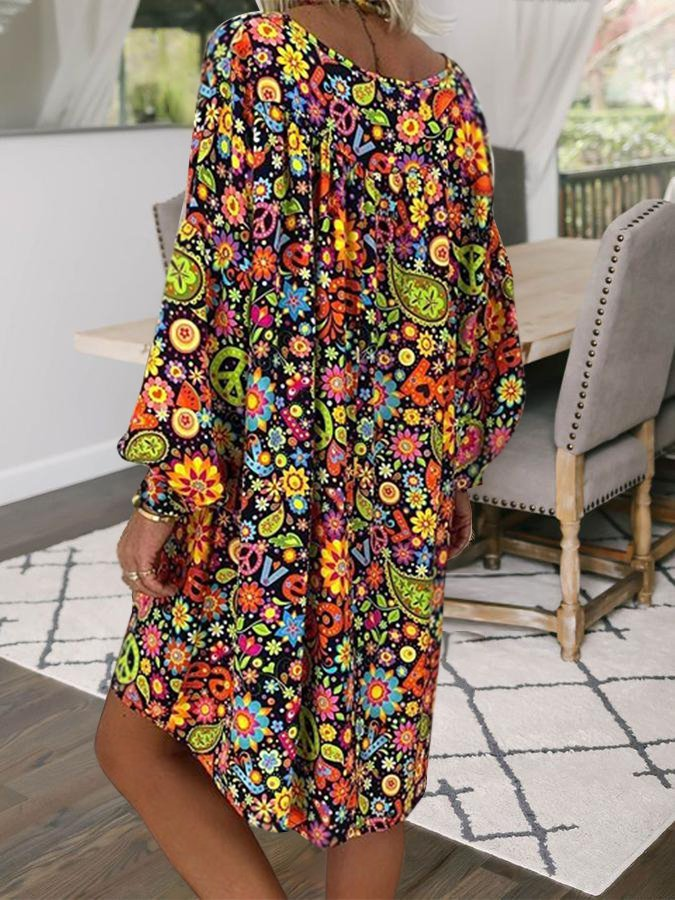 Multicolor Shift Holiday Printed Floral Dresses