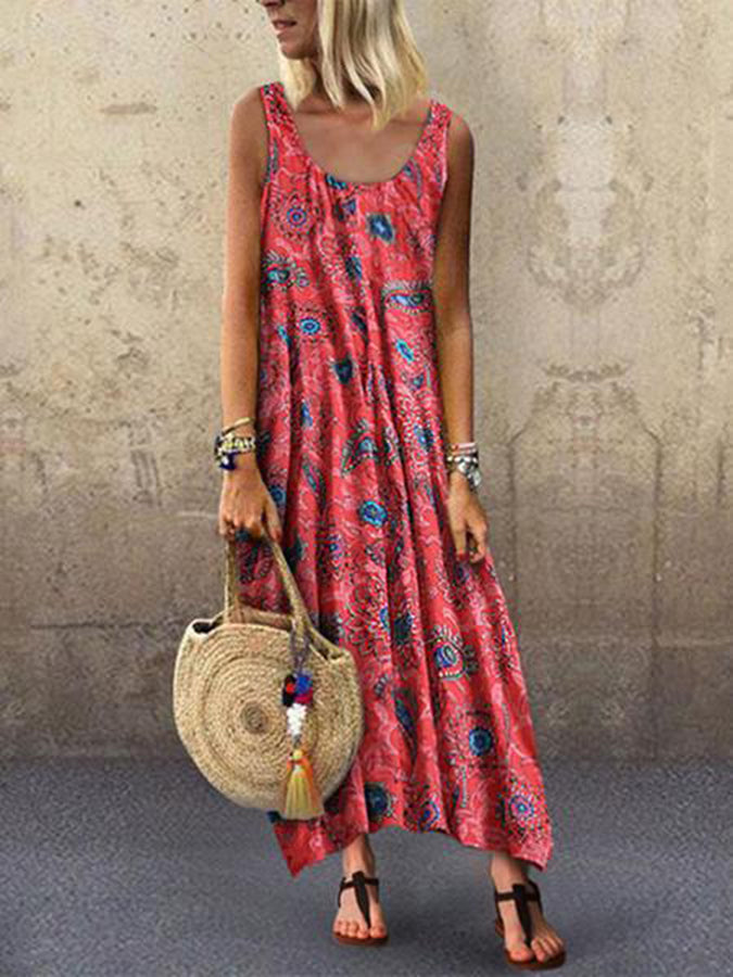 Round Neck Cotton Holiday Geometric Dresses