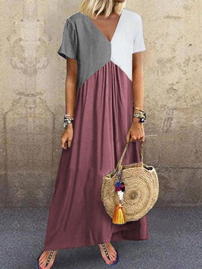 Short Sleeve Color-Block V Neck Dresses
