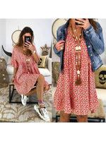 Short Sleeve Floral Casual Dresses