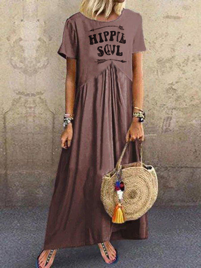 Crew Neck Printed Cotton Casual Dresses