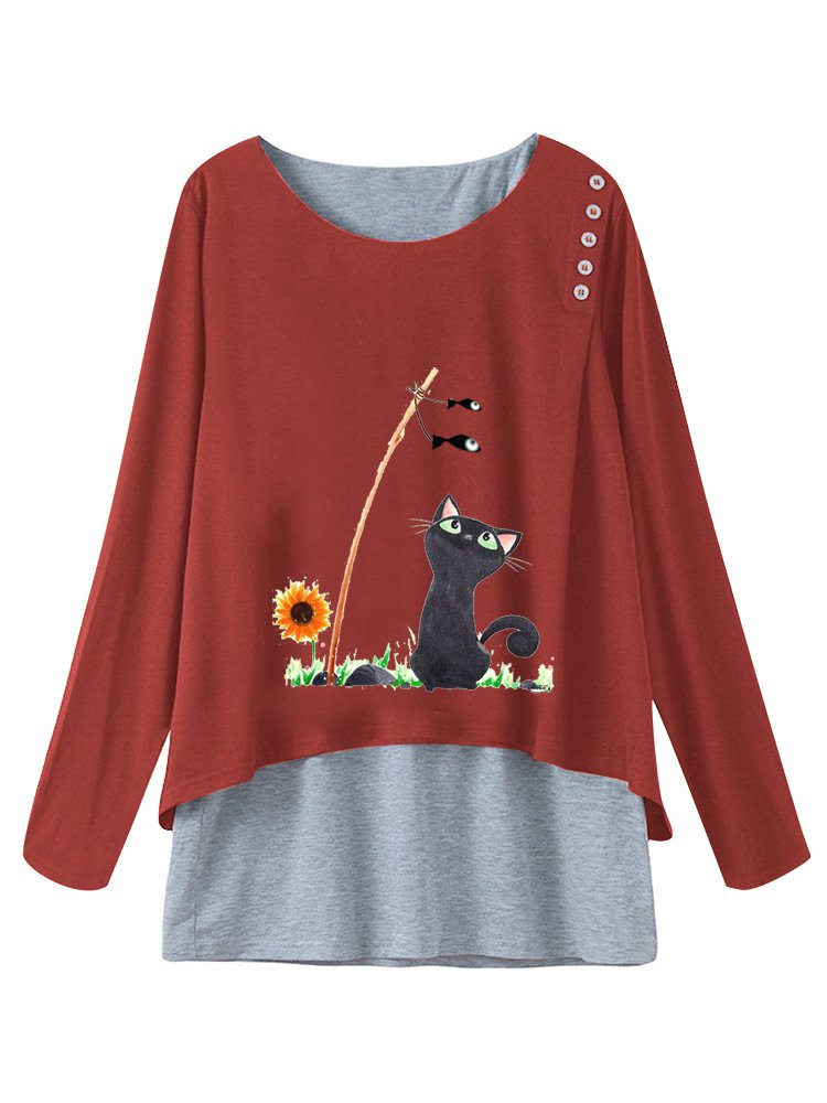Cartoon Cat Print Fake Two Pieces Plus Size T-shirt