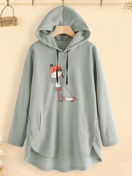 Long Sleeve Casual Hoodie Shift Shirts & Tops