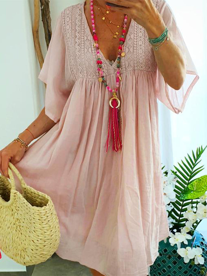 Pink Solid Half Sleeve Basic Dresses