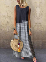 Black Sleeveless Plaid Round Neck Dresses