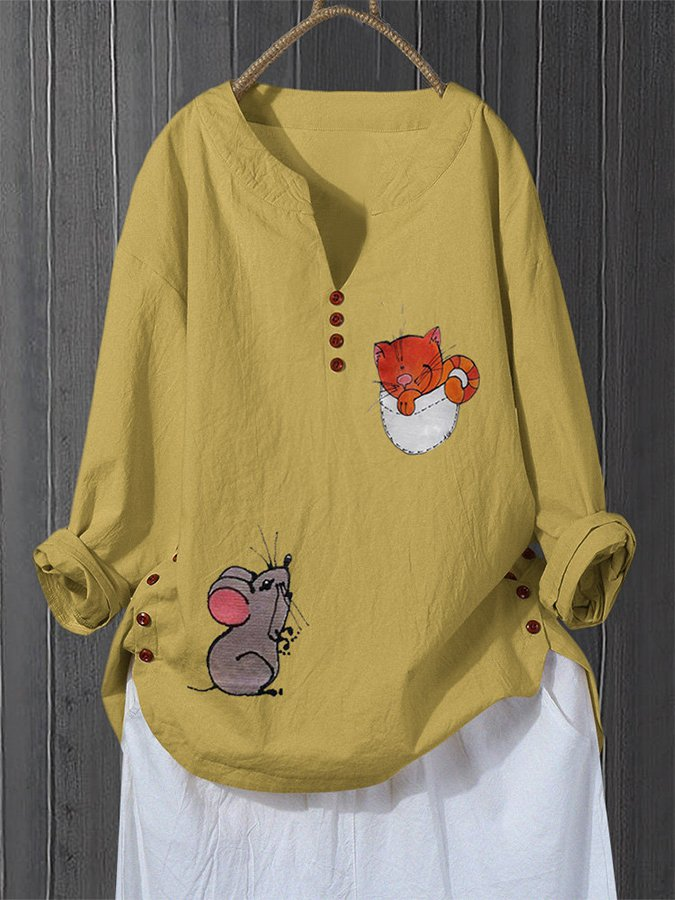 Cartoon Cat Mouse Print V-neck Plus Size Shirt