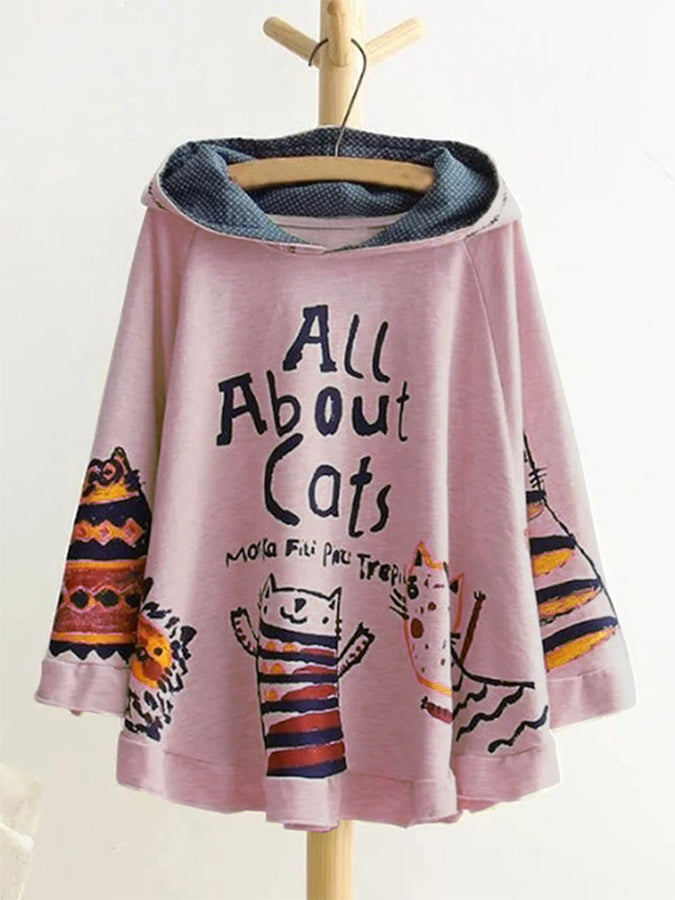Cats Floral-Print Long Sleeve Casual Shirts & Animal Tops