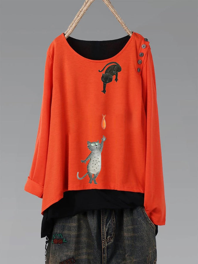 Long Sleeve Sweet & Cute Round Neck Shirts & Tops