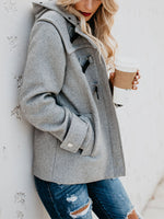 Gray Long Sleeve Fluffy Solid Outwears