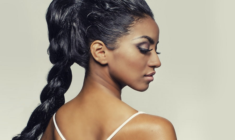 African American Woman with Long Ponytail Braid