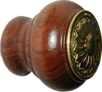 Victorian Wood and Brass Eastlake Knob BK-155