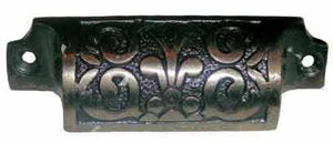Cast Iron Bin Pull with Fleur-De-Lis Pattern BP-121-Antique Hardware & More LLC