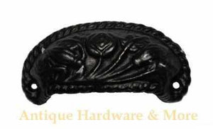 Cast Iron Bin Pull wth a Floral Pattern in Black BP-108-Antique Hardware & More LLC