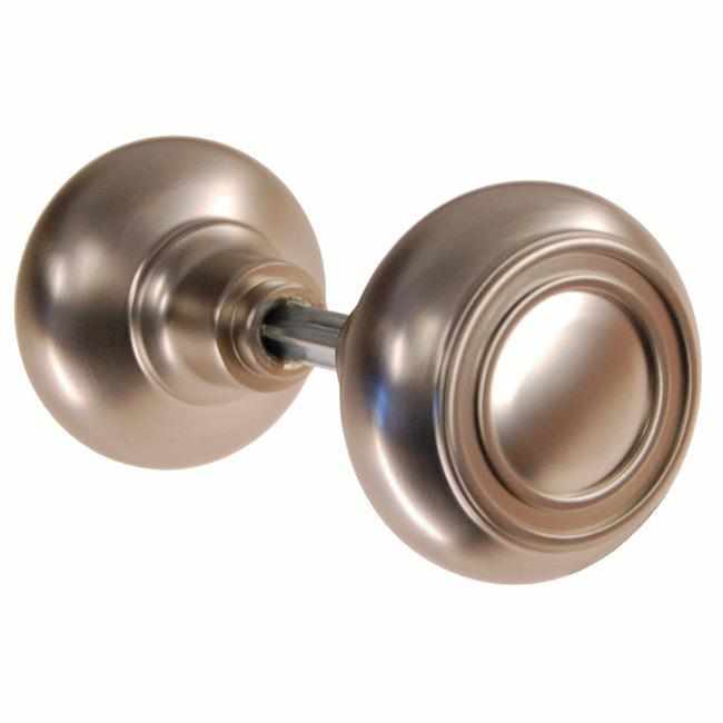 DK-109 Pair of Solid Brass Door Knobs with Brushed Nickel Finish-Antique Hardware & More LLC
