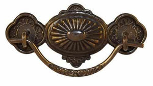 DP-125D Stamped Brass Drawer Pull with Antique Finish-Antique Hardware & More LLC