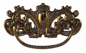 DP-129D Stamped Brass Drawer Pull with Antique Finish-Antique Hardware & More LLC