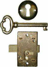 Load image into Gallery viewer, Flush Mounted Lock Set with Key and Keyhole Cover LCK-1101-Antique Hardware & More LLC