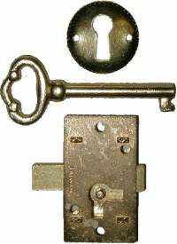 Flush Mounted Lock Set with Key and Keyhole Cover LCK-1101-Antique Hardware & More LLC
