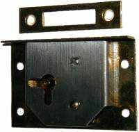 Load image into Gallery viewer, Half Mortise Drawer Or Right Hand Door Lock Set - LCK-1112-Antique Hardware & More LLC