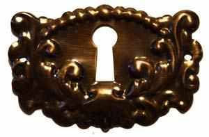 KH-111D Stamped Brass Keyhole Cover with Antique Finish-Antique Hardware & More LLC