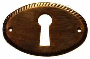 KH-112D Stamped Brass Keyhole Cover in an Antique Finish-Antique Hardware & More LLC