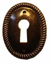 Load image into Gallery viewer, KH-113D Stamped Brass Keyhole Cover with an Antique Finish-Antique Hardware & More LLC