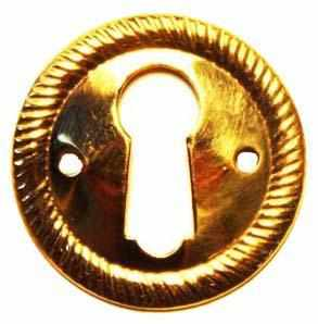 KH-114 Stamped Brass Keyhole Cover in Polished Brass-Antique Hardware & More LLC