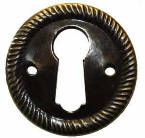 KH-114D Stamped Brass Keyhole Cover with an Antique Finish-Antique Hardware & More LLC
