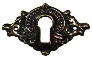 KH-117D Stamped Brass Keyhole Cover in an Antique Finish-Antique Hardware & More LLC