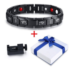 Load image into Gallery viewer, Ankh Cross and Eye of Horus Stainless Steel Magnetic Bracelet