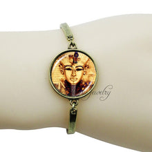 Load image into Gallery viewer, Ancient Egyptian Horus Eye Ankh Glass  Animal Falcon Pendant Charm Bangle Bracelet