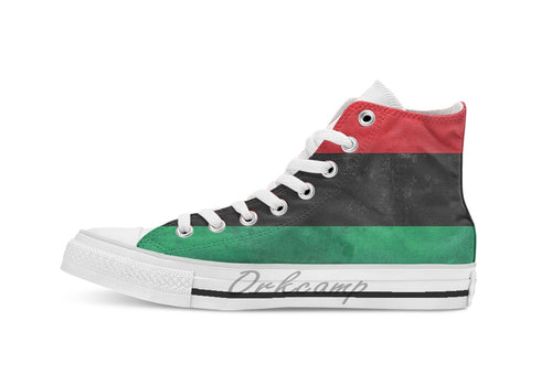 Distressed Pan African UNIA flag Unisex High Top Canvas flat Casual Custom Kicks