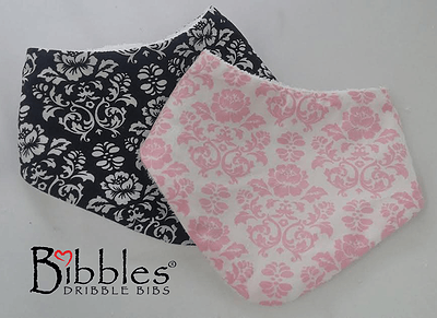 Bibbles Dribble Bib - Damask (Pink) - Ecotree Baby Boutique