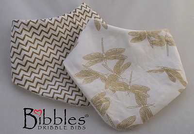 Bibbles Dribble Bib - Gold on Cream (Dragonfly) - Ecotree Baby Boutique