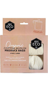 Ever Eco Organic Cotton Muslin Produce Bags - 4 Pack - Ecotree Baby Boutique
