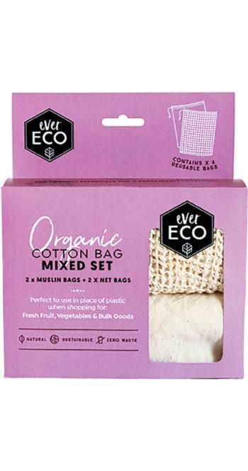 Ever Eco Organic Cotton Produce Bags Mixed Set 4 Pack - Ecotree Baby Boutique