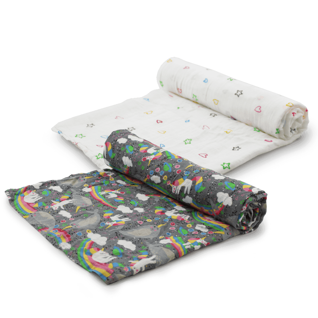 Juju Be for Kangacare Serene Muslin Swaddle - Narwhal Nirvana - Ecotree Baby Boutique