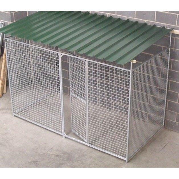 3 Sided Galvanised Mesh Dog Pens With Roof - Prestige Range