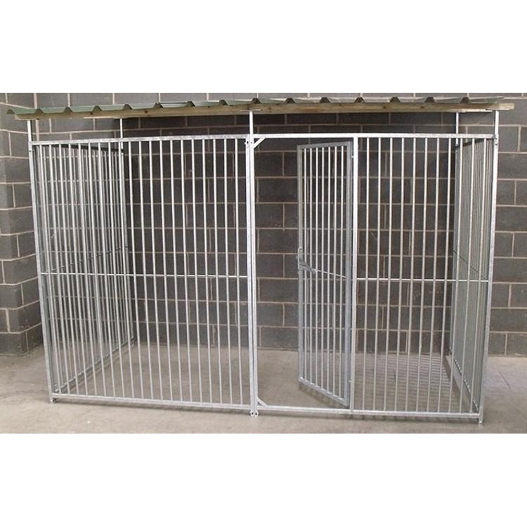 3 Sided Galvanised Dog Pen With Roof (5cm Bars) - Prestige Range
