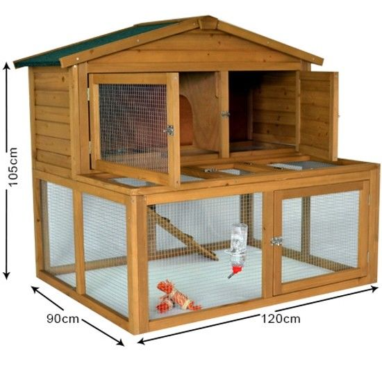 Blossom Dwarf Rabbit Hutch with Run Guinea Pig Hutch with Run